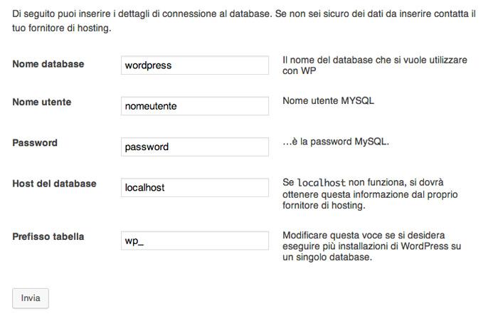 configurazione database mysql wordpress
